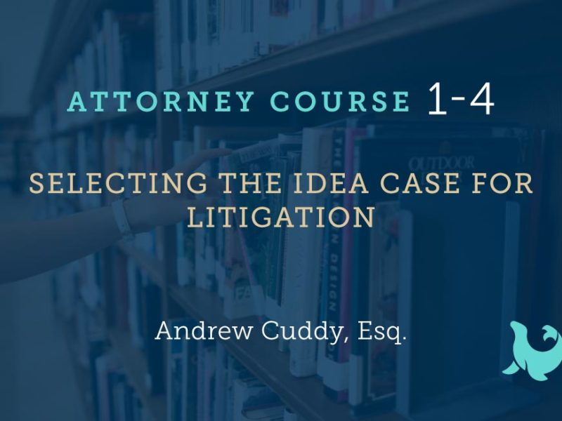 1-4: Selecting the IDEA Case For Litigation