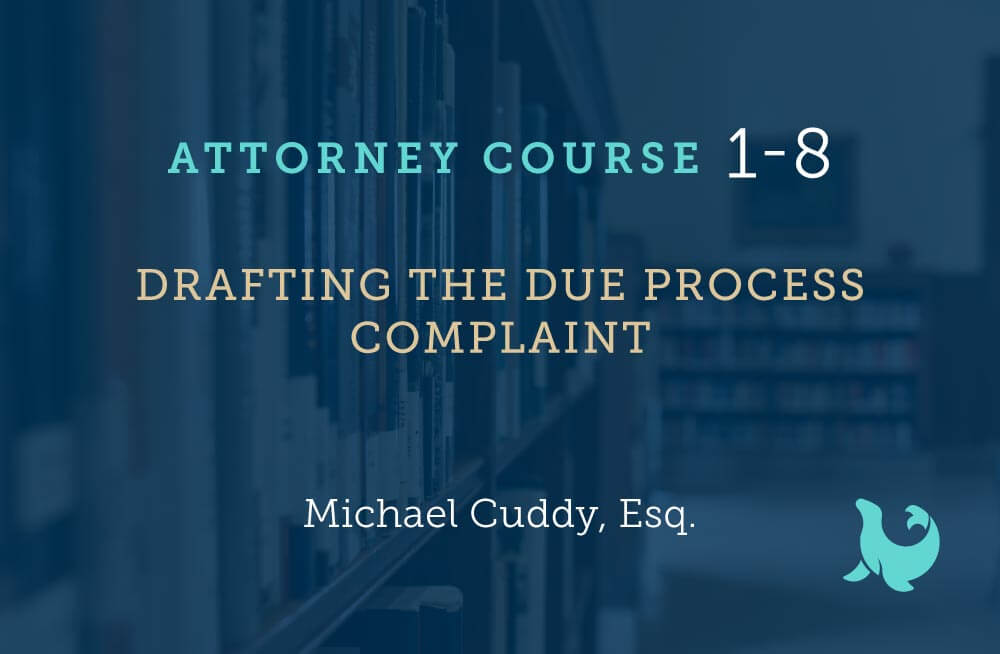 drafting the due process complaint cover